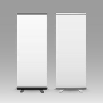 白い空白のロールアップビジネスバナースタンドの背景に分離された広告