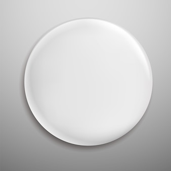 White blank round metal button circle label