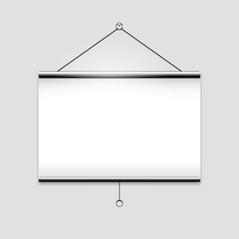 White blank screen projector clean with copyspace