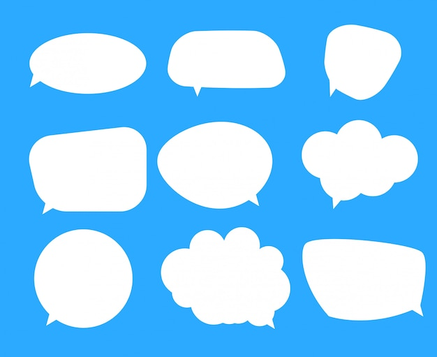 White blank speech bubbles, thinking balloon set