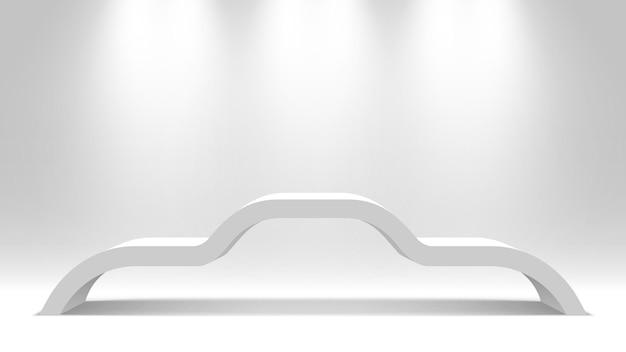白い空白のスタンド。表彰台。台座。