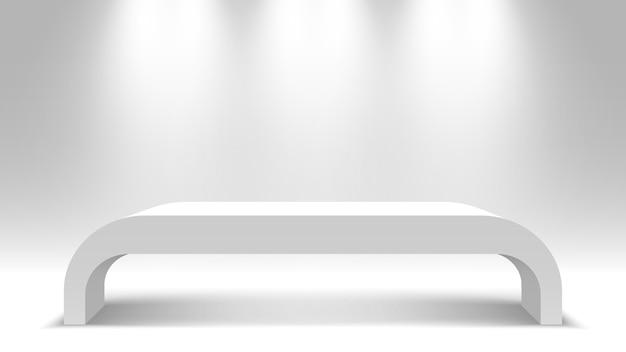 白い空白のスタンド。表彰台。テーブル。ペデスタル。