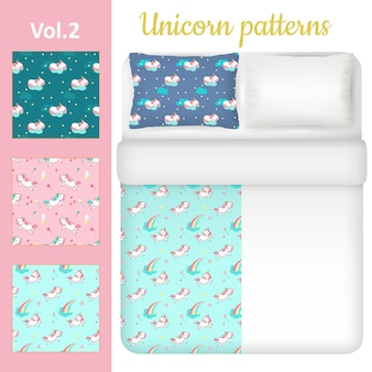 White blank and unicorn bed linen set
