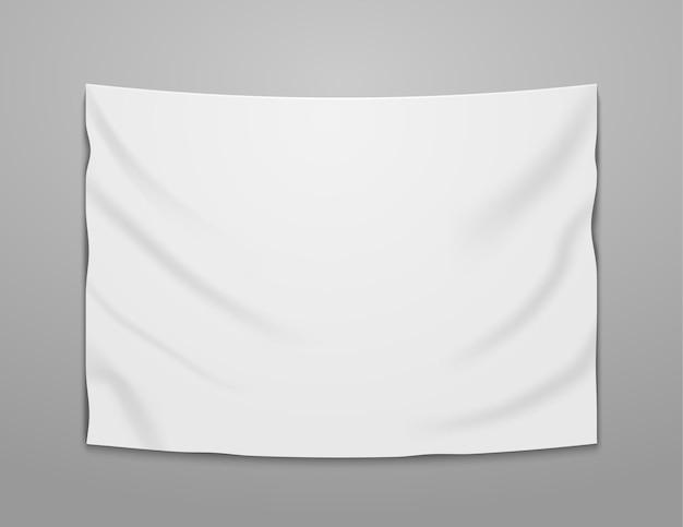 白い空白のベクトルバナーテキスタイル。空のハンギングファブリックバナー
