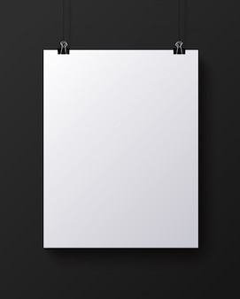 White blank vertical sheet of paper, mock-up