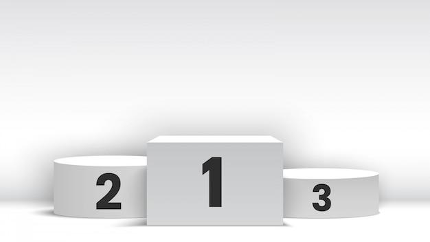 白い空白の勝者の表彰台。ペデスタル。図。