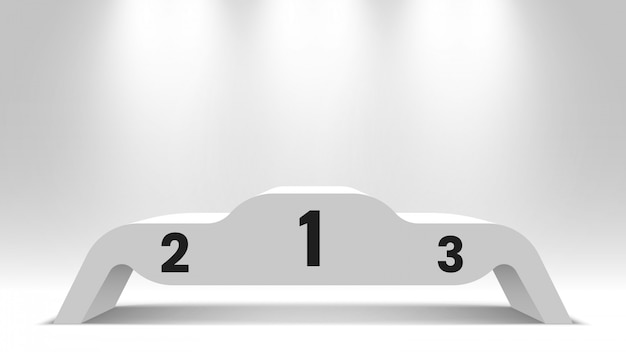 Белый пустой подиум победителей с прожекторами. пьедестал. иллюстрации.