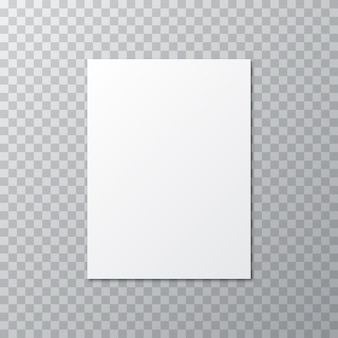 White blank with shadow on a transparent