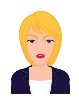 Белая блондинка в векторной иллюстрации