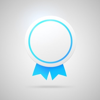White and blue badge design Free Vector