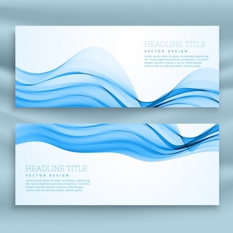 White and blue banner with wavy shapes