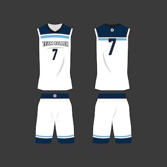 White and blue basketball jersey template