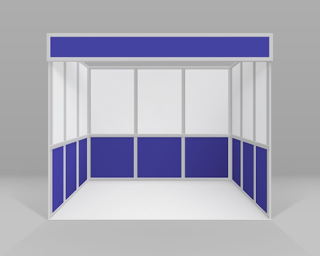 White blue blank indoor trade exhibition booth standard stand for presentation isolated