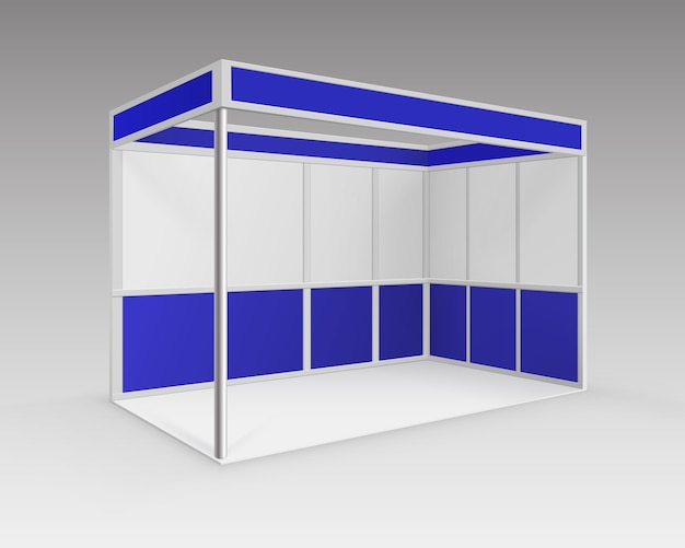 White blue blank indoor trade exhibition booth standard stand for presentation in perspective isolated on background