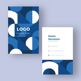 White and blue classic business card template