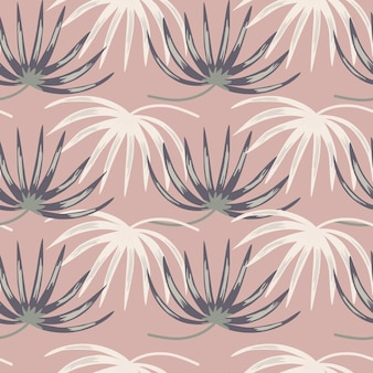 White and blue colored tropic leaves seamless pattern in doodle style