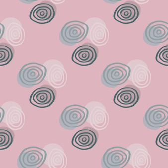 White, blue and dark green spirals on geometric kids pattern. pink background.