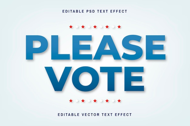 White and blue editable vector text effect template