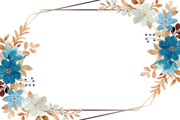 水彩で白青の花のフレーム