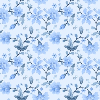 White and blue flower seamless pattern
