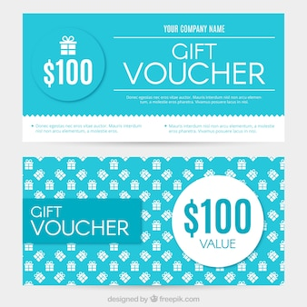 White and blue gift coupons