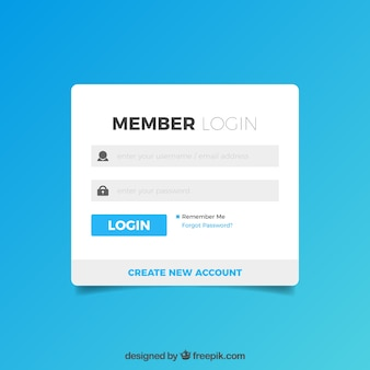 White and blue login form