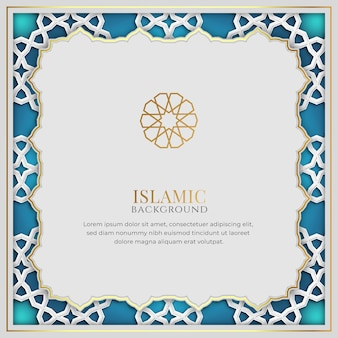White and blue luxury islamic background with decorative ornament frame and pattern