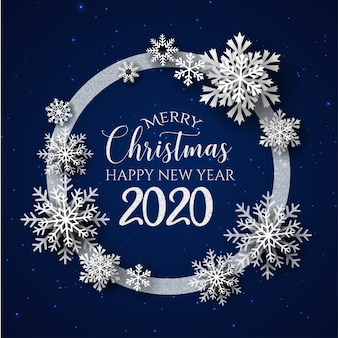 White & blue merry christmas and happy new year 2020 greeting card
