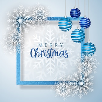 White & blue merry christmas открытка