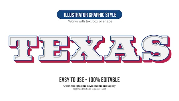 White blue and red western 3d editable text effect