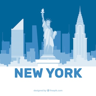 White and blue skyline of new york