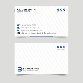 White and blue ui business card design template