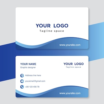 White and blue visiting card template