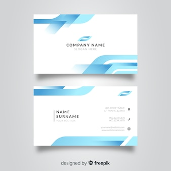 White and blue visiting card