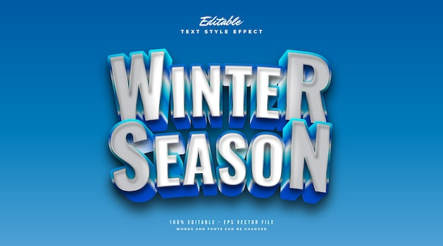 White and blue winter text style with frost and 3d effect. editable text style effect