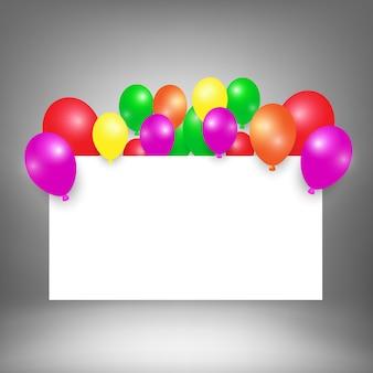 Белая доска фон с воздушным шаром для вашего текста