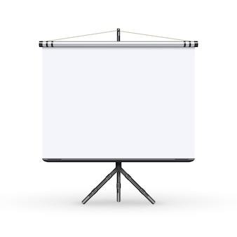 White board presentation conference meeting screen with tripod illustration.