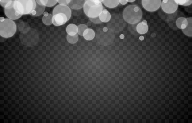 격리 된 투명 배경에 흰색 bokeh 조명 효과 png 흐리게 bokeh png