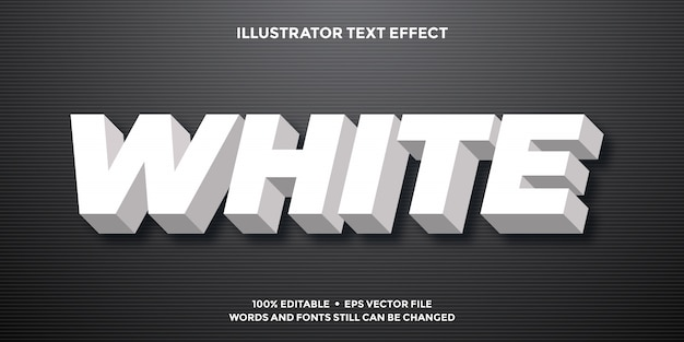 White bold 3d text effect