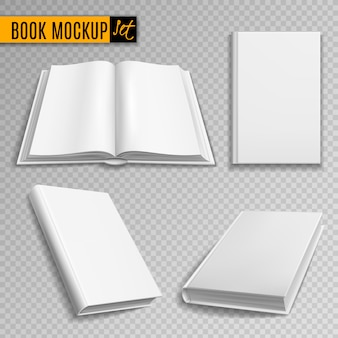 White book mockup. realistic books cover blank brochure covers paperback empty textbook magazine hardcover catalog Premium Vector