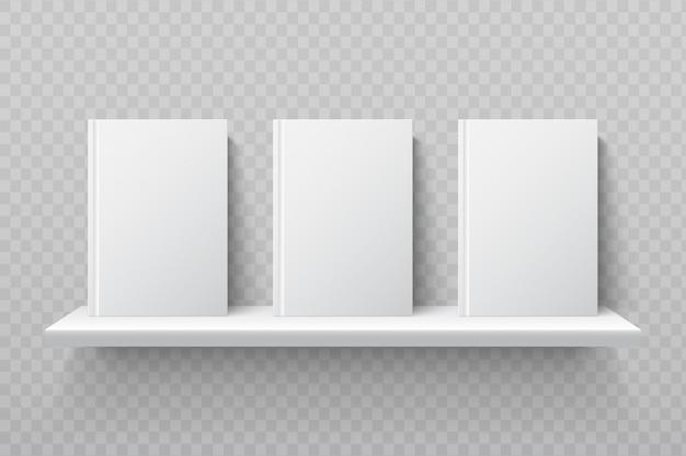 White books on bookshelf. empty school textbooks in modern office interior vector mockup