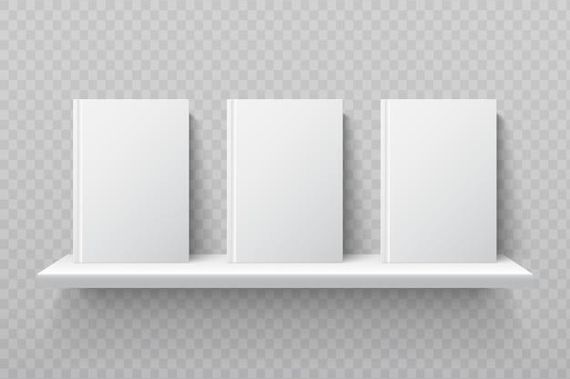 Белые книги на книжной полке. пустые школьные учебники в макете интерьера современного офиса. книжная полка для библиотеки, полка для книжной иллюстрации образования