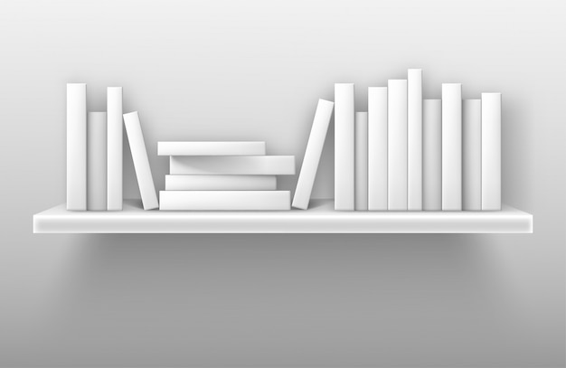 White bookshelf mockup, books on shelf in library