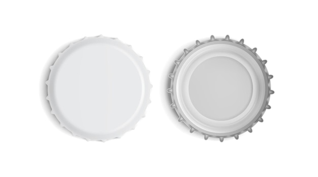 White bottle cap top and bottom view isolated