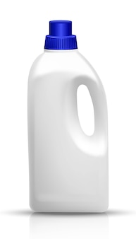 White bottle of laundry detergent. kitchen and bathroom utensils and cleaning products. isolated illustration on white.