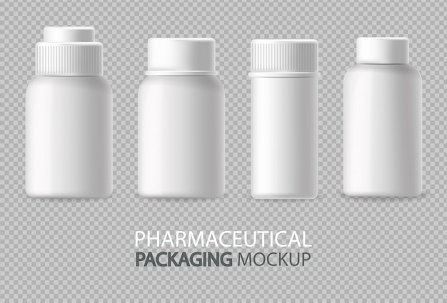 White bottles realistic isolated. advertise empty container. cosmetics, medicine or tooth paste 3d detailed illustrations