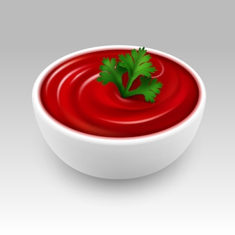 White bowl of red tomato ketchup sauce with green parsley on white