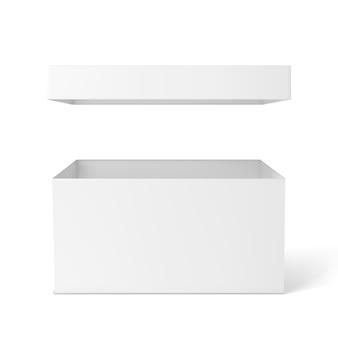 Макет белой коробки. пустая упаковочная коробка, пакет