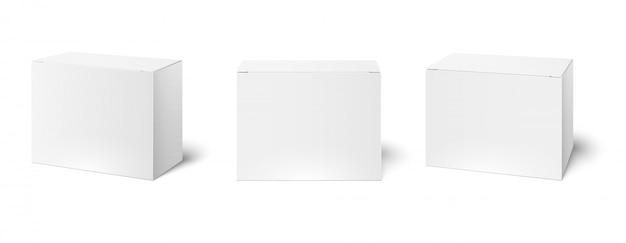 백색 상자 모형. 빈 포장 상자, 큐브 투시도 및 화장품 제품 패키지 모형 3d 일러스트 세트