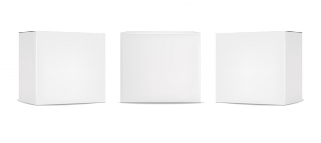White box packaging set, realistic isolated white background,  illustration, cosmetics box, isolated package